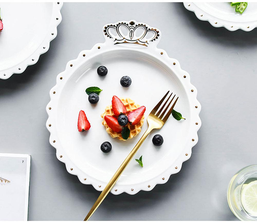Crown Dinner Plates 10 inches, Porcelain Ceramic Breakfast Tray Steak Plate 14