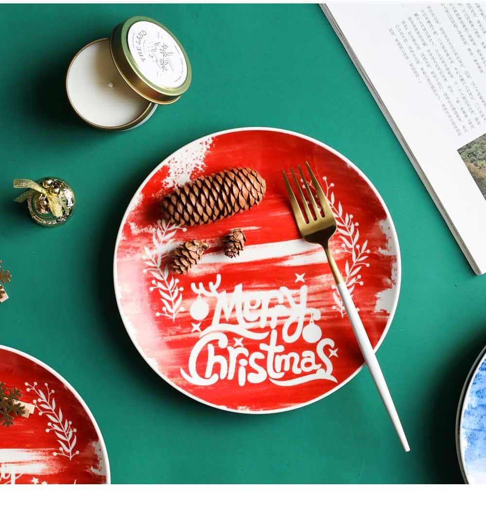 Christmas Painted Ceramic Plates, Christmas Style Steak Dinner Plates 10