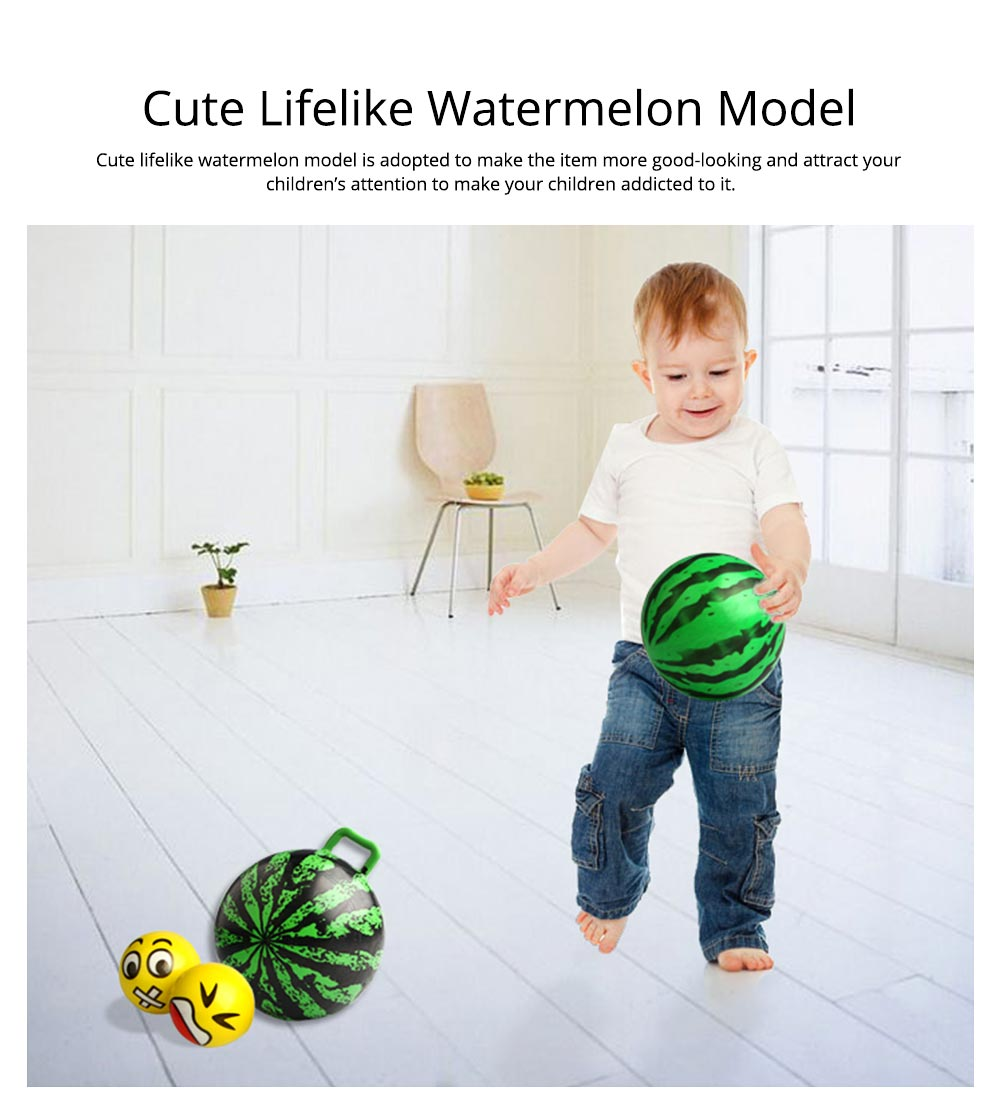 Watermelon Rubber Bounce Ball, Inflatable Elastic Punch Parent-child Interaction Ball with Handle 6