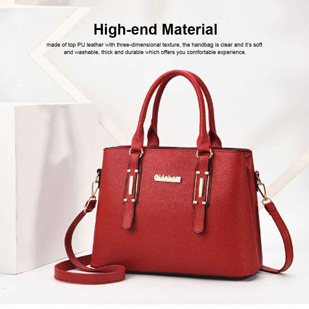 Fashion PU Leather Women's Shoulder Bag With Metal Reinforced Hand 2 Sets bags 11