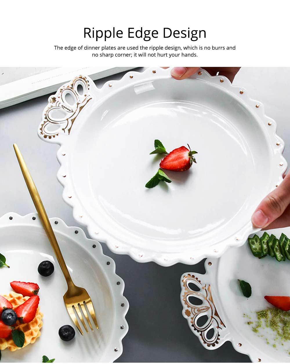 Crown Dinner Plates 10 inches, Porcelain Ceramic Breakfast Tray Steak Plate 13
