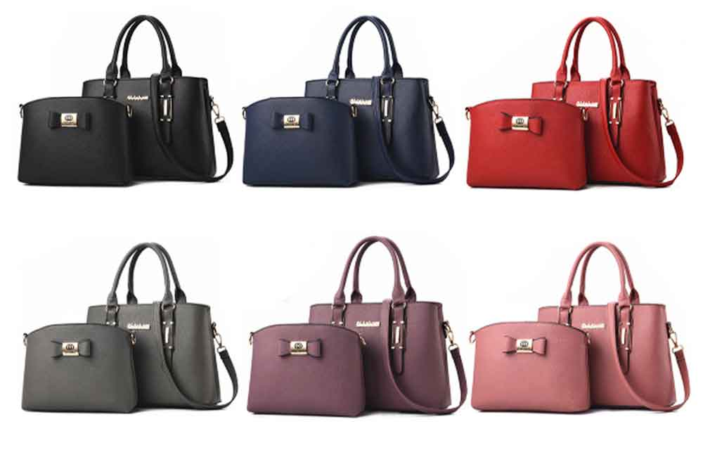 Fashion PU Leather Women's Shoulder Bag With Metal Reinforced Hand 2 Sets bags 8