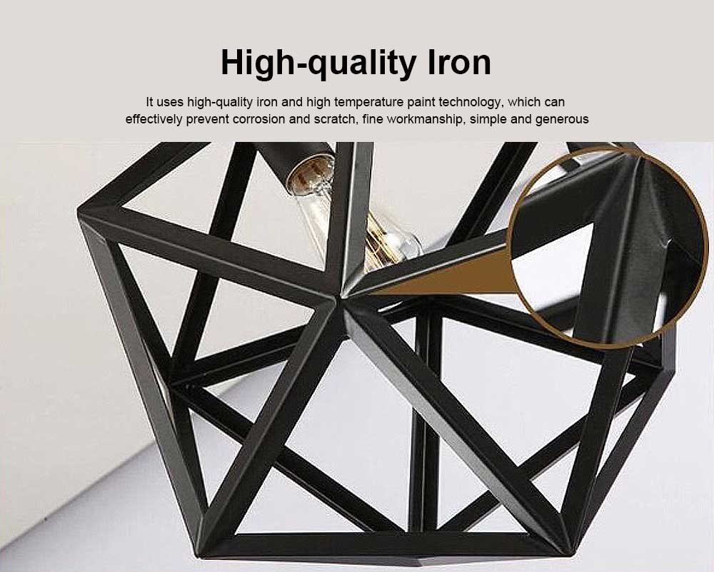 Wrought Iron Chandelier Lighting, American Country Multi-hexahedron Lamp 4