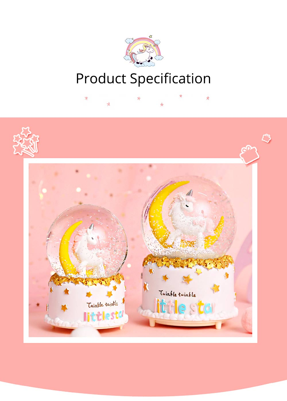 Elegant Snow Globe Ball Music Box With Unicorn Decoration for Children Girls As New Year Birthday Present 8