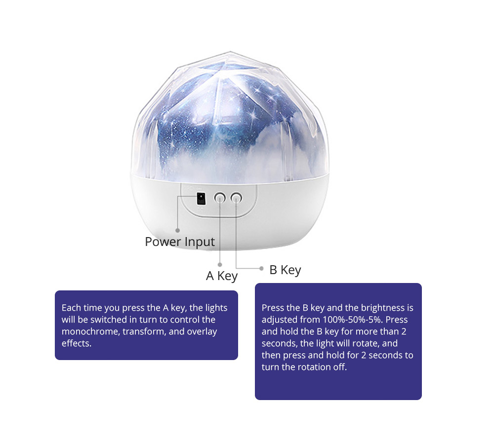 Pretty Starry Sky Ocean Projecting Night Light, Rotation Light Birthday New Year Gift 11