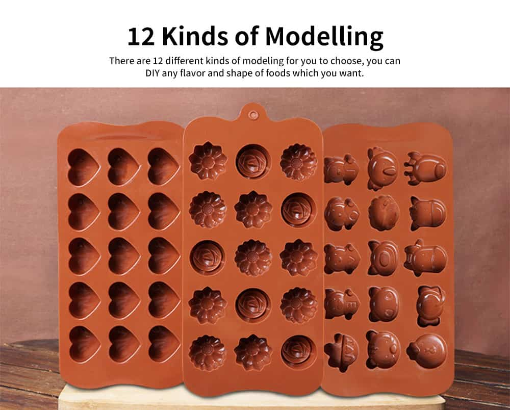 Multi Shape Baking Mold with 15 Holes, Silicone Chocolate Candy Pudding Jelly Lollipop Silicone DIY Mold 3