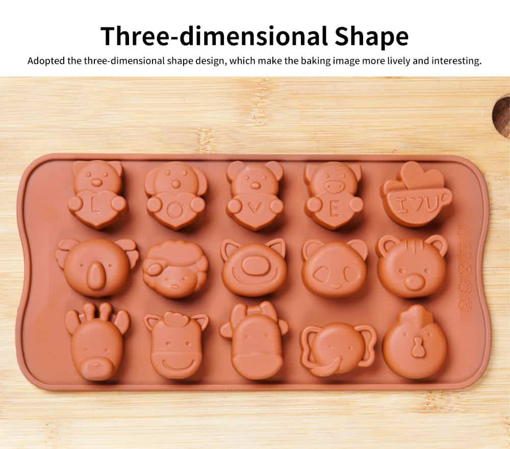 Multi Shape Baking Mold with 15 Holes, Silicone Chocolate Candy Pudding Jelly Lollipop Silicone DIY Mold 2