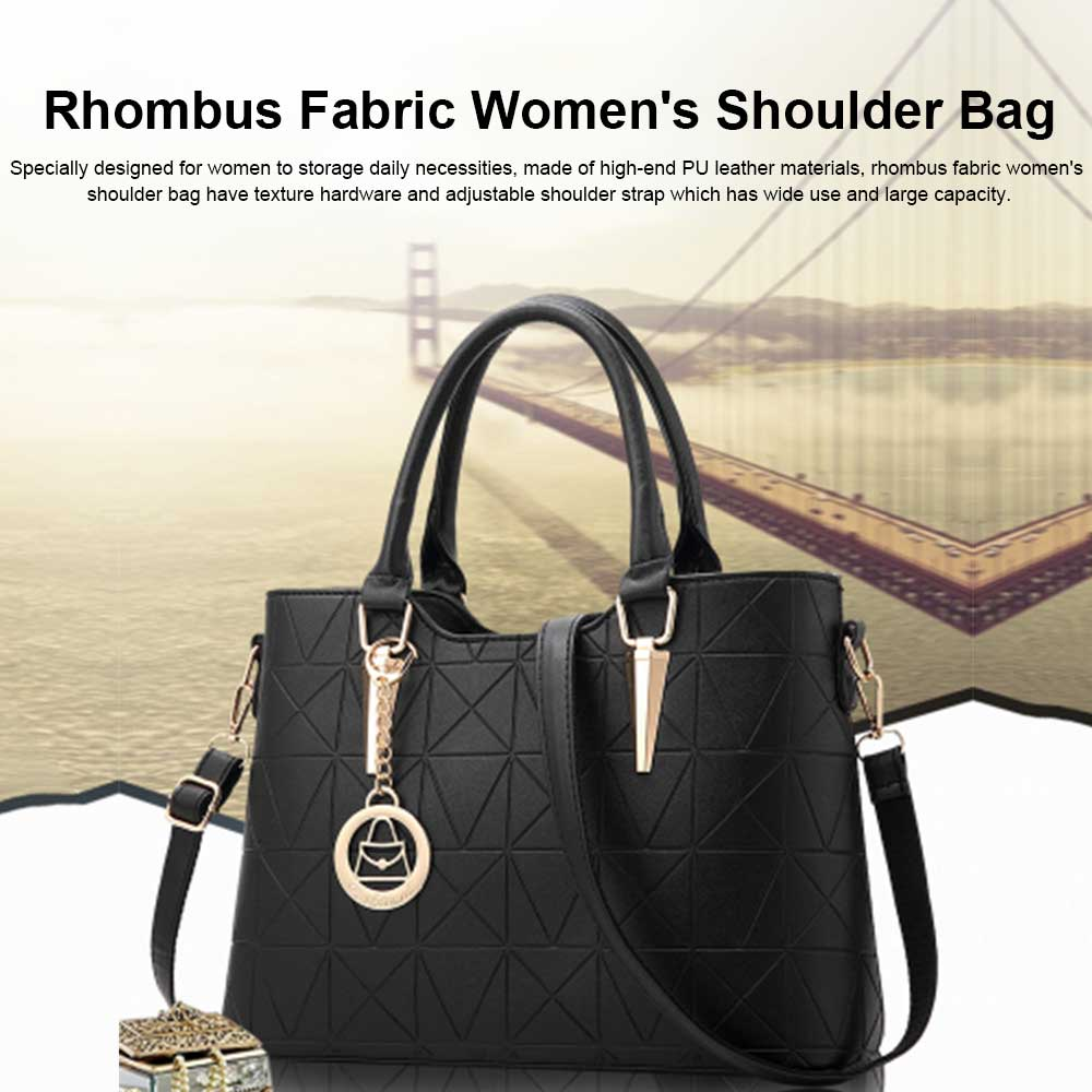 Rhombus Fabric Women's Shoulder Bag with Texture Hardware and One-shoulder Buckle and Large Capacity 0