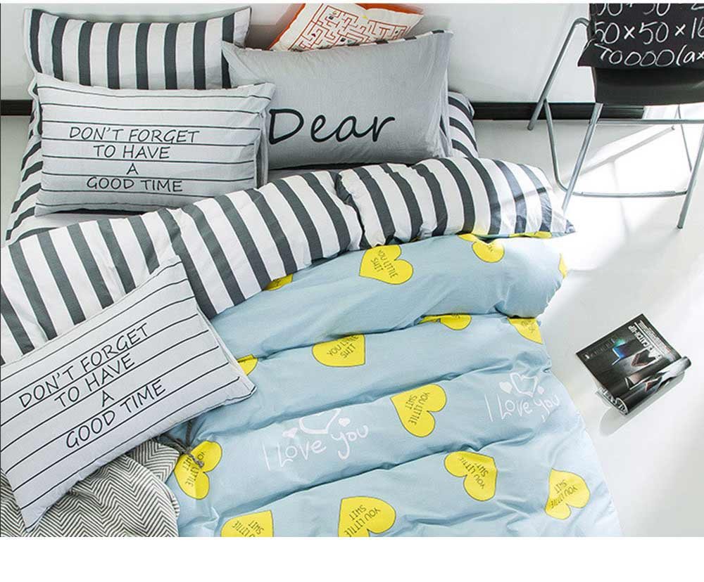 Simple Bedding Set 4 Pieces, Activated Dyeing & Printing 100% Organic Cotton Bedding Set 11