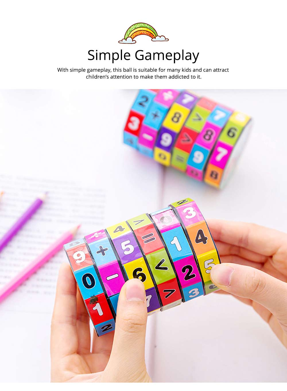 6 Layers Number Mathematical Children Puzzle Magic Cube, Creative Arithmetic Calculation Early Education Toy For Kids 5