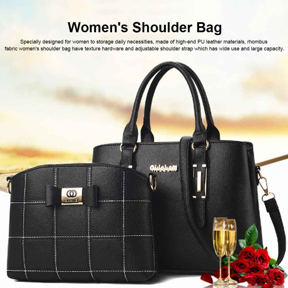 Fashion PU Leather Women's Shoulder Bag With Metal Reinforced Hand 2 Sets bags 0