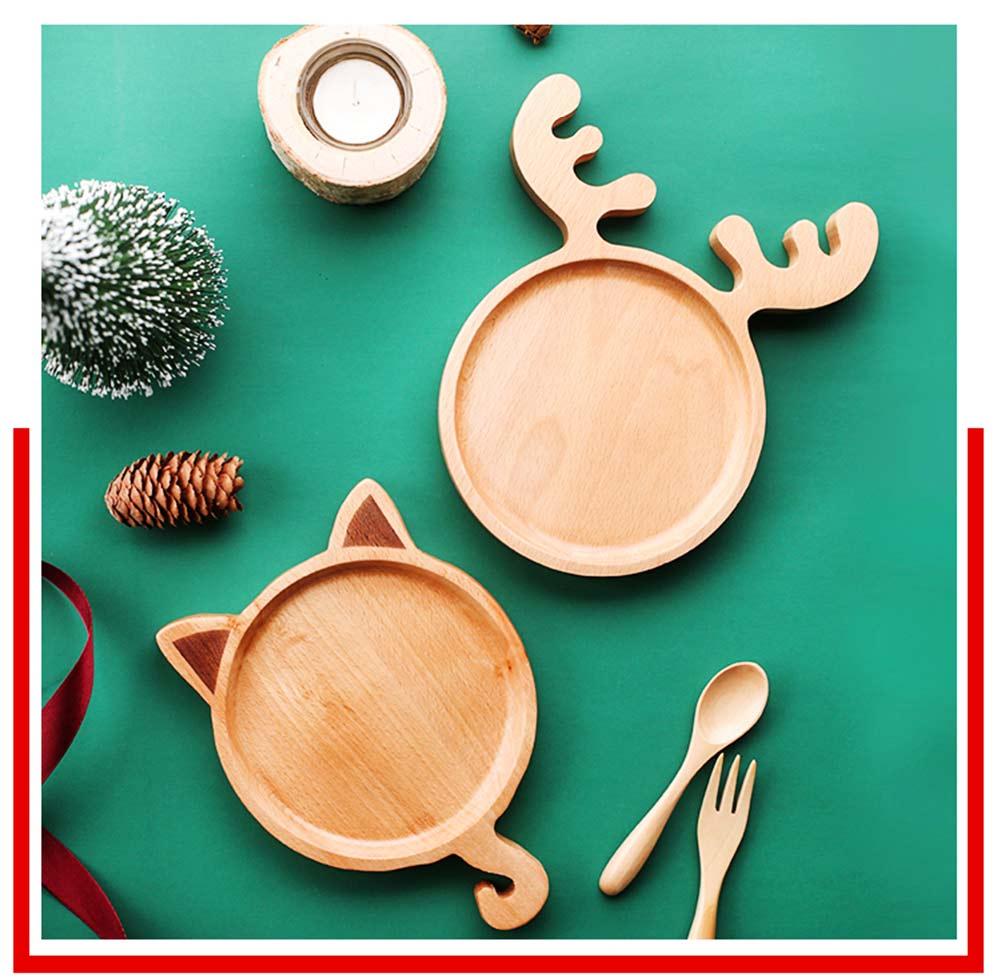 Dinner Plate & Dinnerware Set, Wooden Plate Fork Spoon Sets, Cartoon Pattern 4