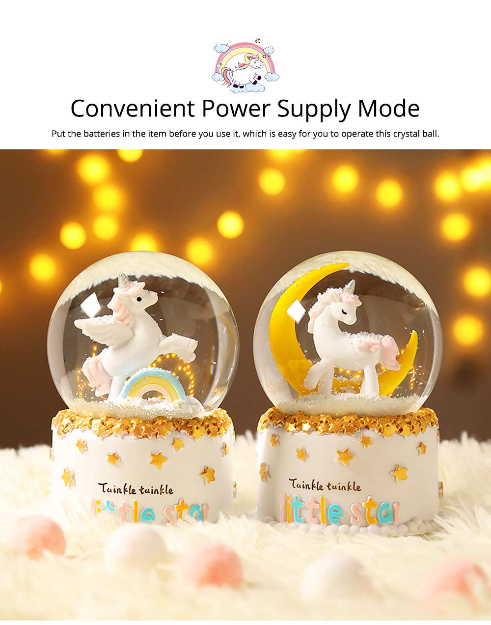 Elegant Snow Globe Ball Music Box With Unicorn Decoration for Children Girls As New Year Birthday Present 5