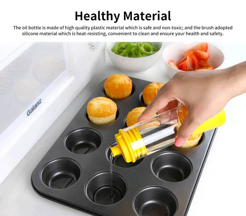 Cooking Oil Bottle With Basting Brush, Heat Resistant Anti-Leak Barbecue Tool 1