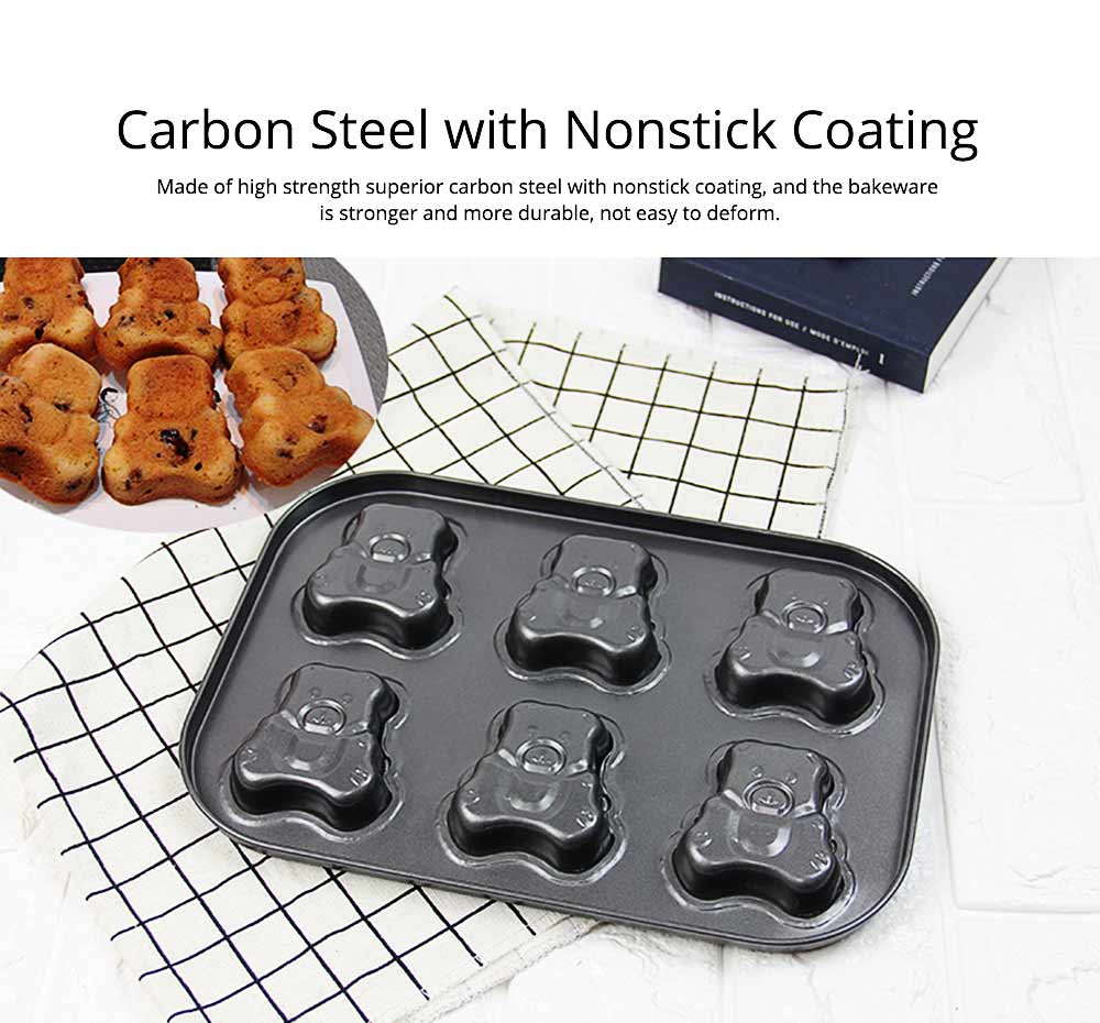 6 Cups Muffin Pan Bread Molds Cake Bakeware, Seashell Bear Shape DIY Chocolate Baking Mould 2