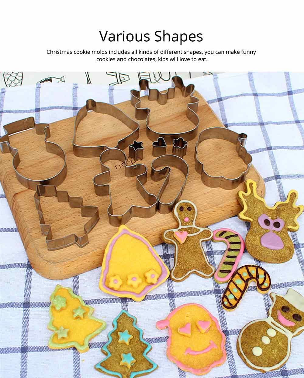 Mini Christmas Cookie Cutter Set, Stainless Steel Biscuit Mold Set 4