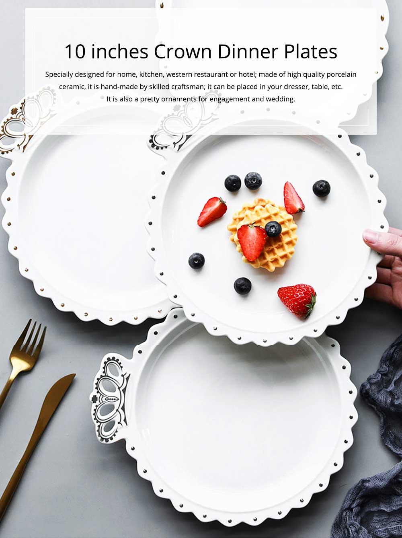 Crown Dinner Plates 10 inches, Porcelain Ceramic Breakfast Tray Steak Plate 9
