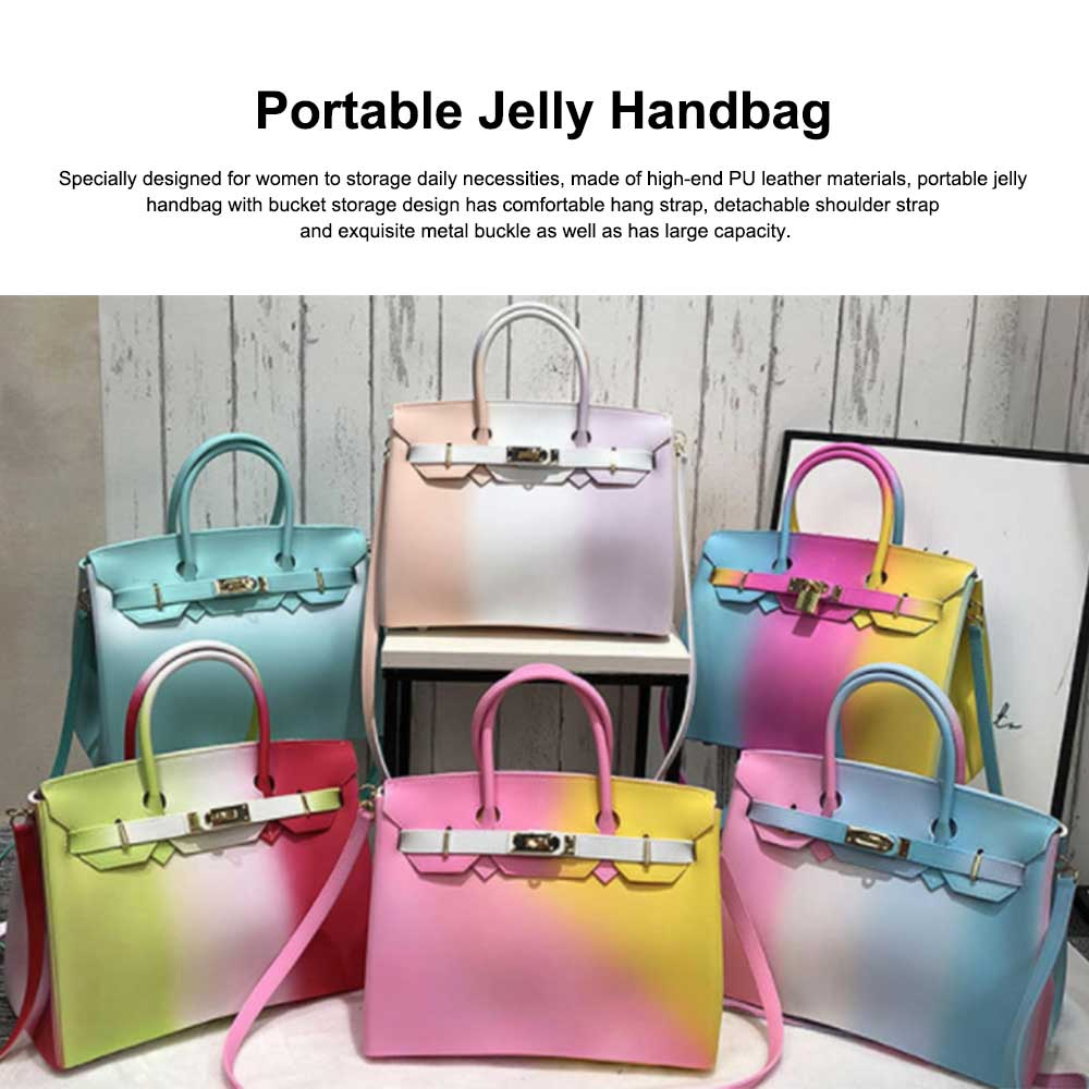Colorful Contrast Women's Fashion Jelly Bag Rainbow Colored Matte PVC Beach Handbag Tote Bag 0