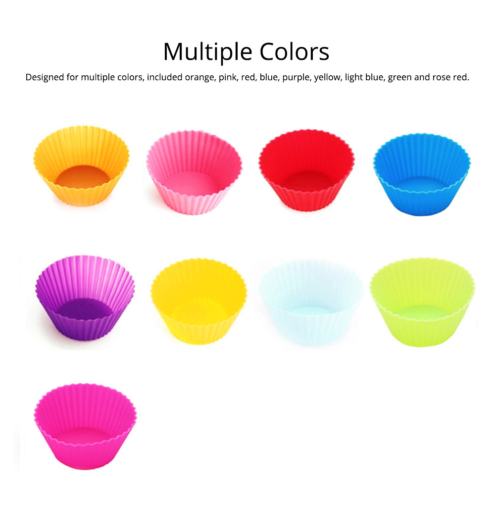 Reusable Silicone Baking Cups, Multi-colors Muffin Cup Liners, 12PCS 2