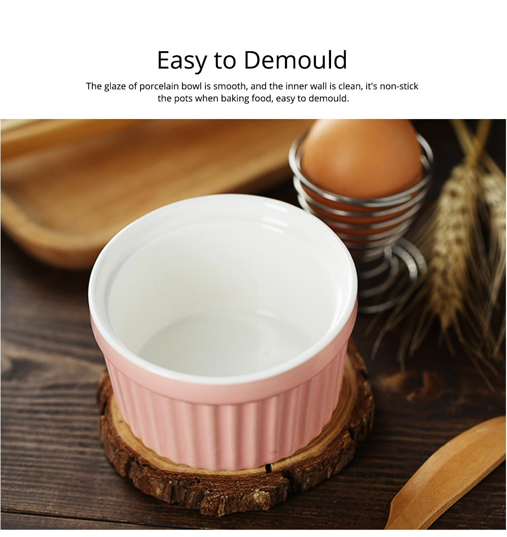 Round Porcelain Baking Dishes, Ceramic Dessert Bowls Baking Cups for Creme Brulee,  Dipping Sauces 4