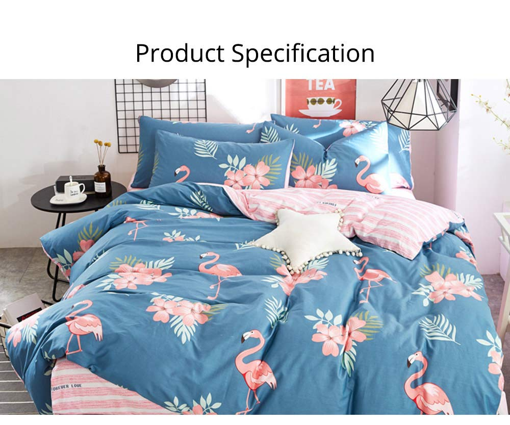 Simple Bedding Set 4 Pieces, Activated Dyeing & Printing 100% Organic Cotton Bedding Set 13
