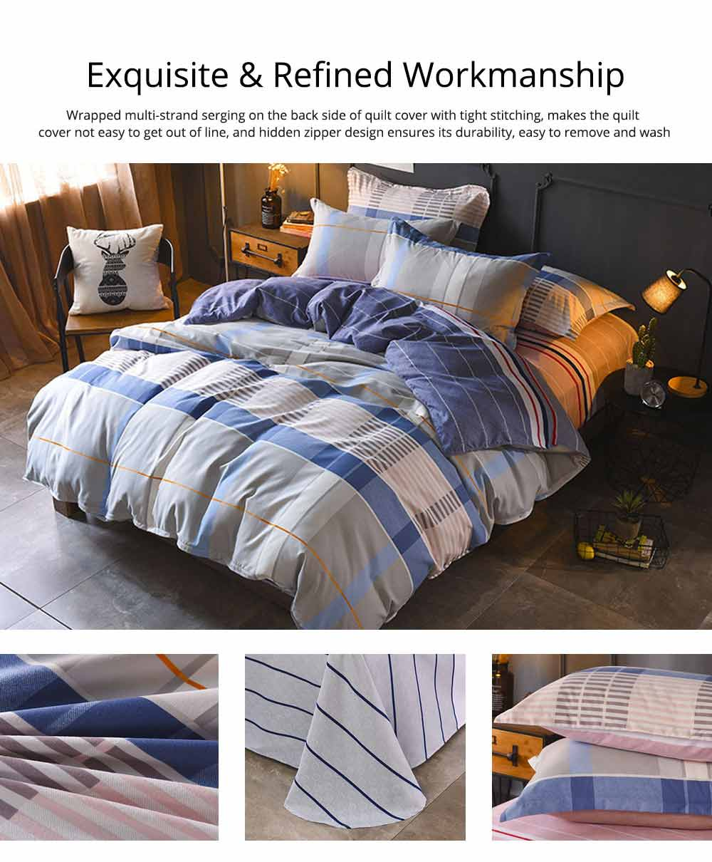 Simple Style Quilt Cover Sheet Pillowcase Bedding Set 4 Pieces 4
