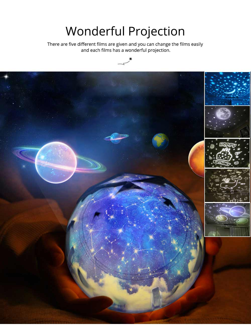 Pretty Starry Sky Ocean Projecting Night Light, Rotation Light Birthday New Year Gift 5