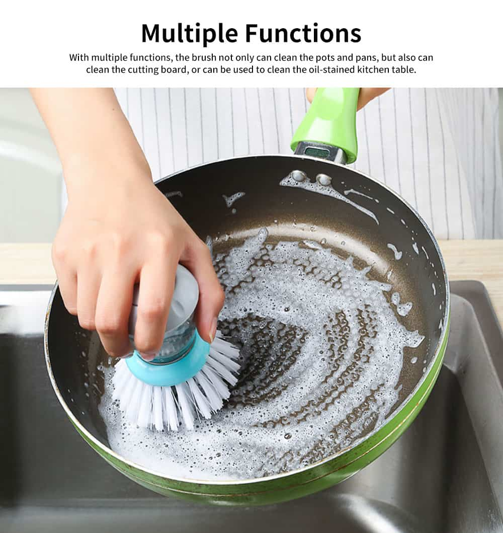 Pot Pan Dish Brush, Press-type Cleaner Kitchen Brush Dish Wash Scrubber 4