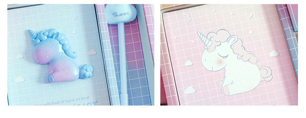 Notebook Pen Sticker Set Birthday Present, Fantasy Starry Sky Unicorn Hand Account Book Suit 4