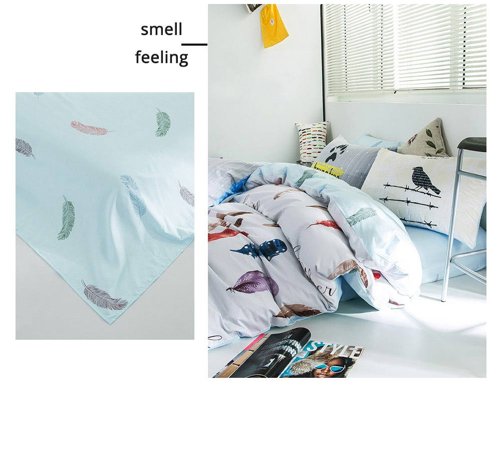 Simple Bedding Set 4 Pieces, Activated Dyeing & Printing 100% Organic Cotton Bedding Set 3