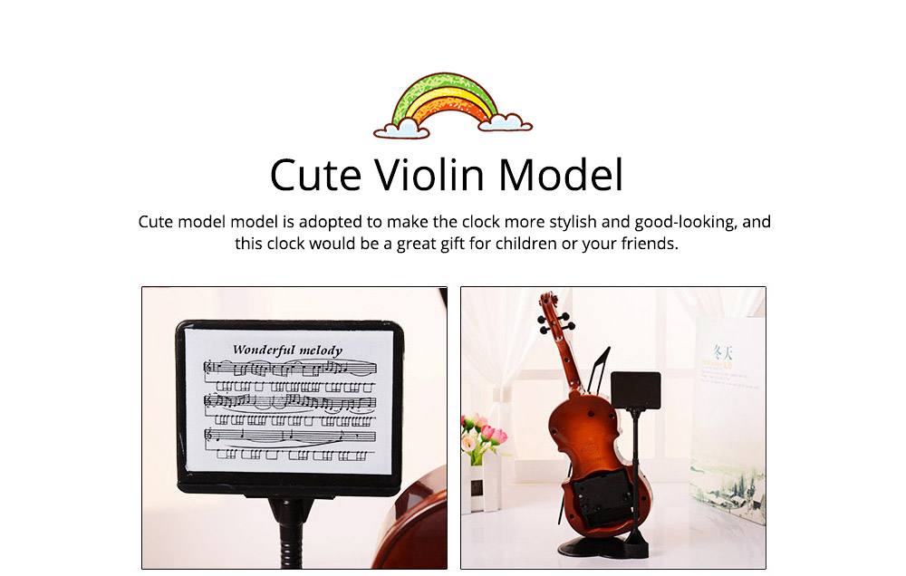 Creative Cello Table Clock, Horological Home Living Room Decoration Graduation Present 3