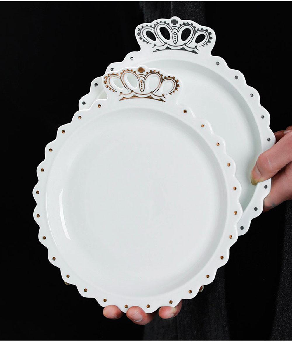 Crown Dinner Plates 10 inches, Porcelain Ceramic Breakfast Tray Steak Plate 11