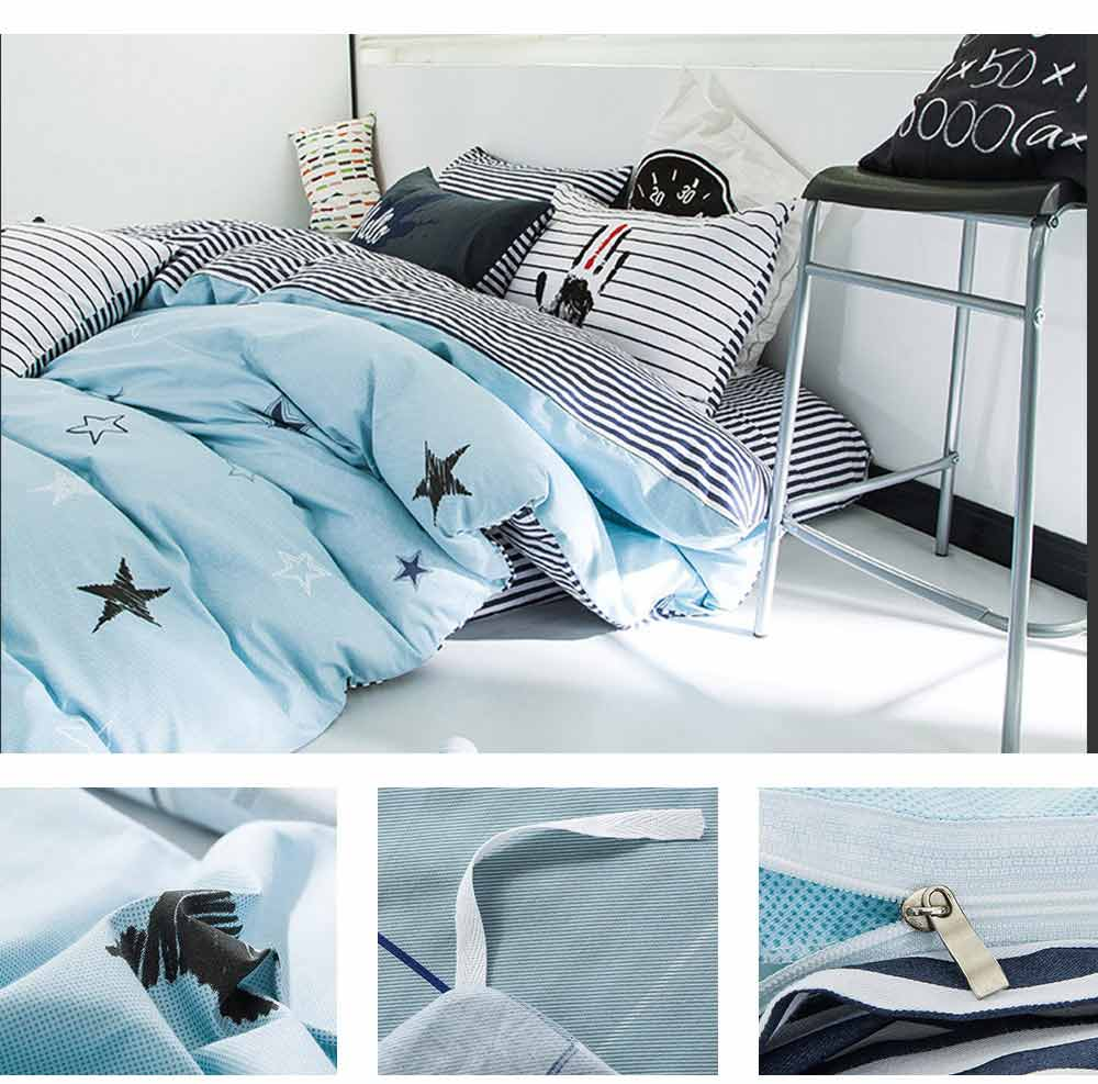 Simple Bedding Set 4 Pieces, Activated Dyeing & Printing 100% Organic Cotton Bedding Set 5