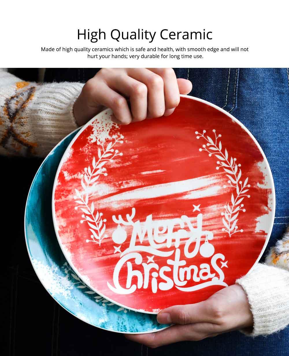 Christmas Painted Ceramic Plates, Christmas Style Steak Dinner Plates 1