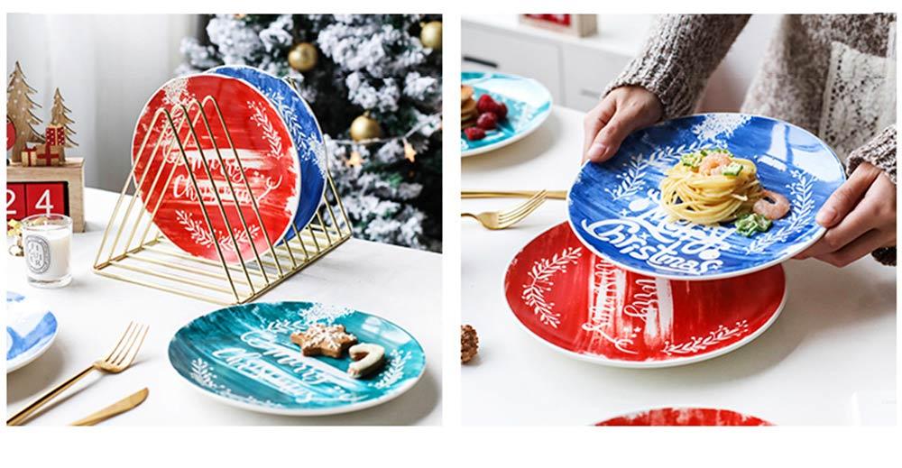 Christmas Painted Ceramic Plates, Christmas Style Steak Dinner Plates 6