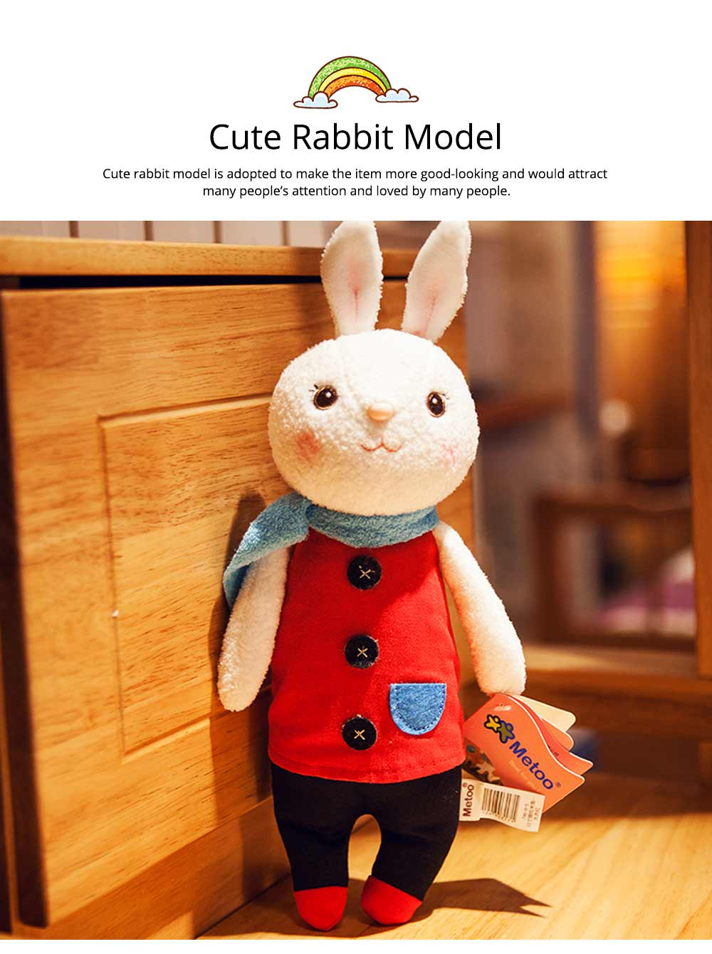 Cute Cartoon Tiramitu Rabbit Plush Stuffed Toy, Ultrasoft Smooth Children's Day Present Doll 5