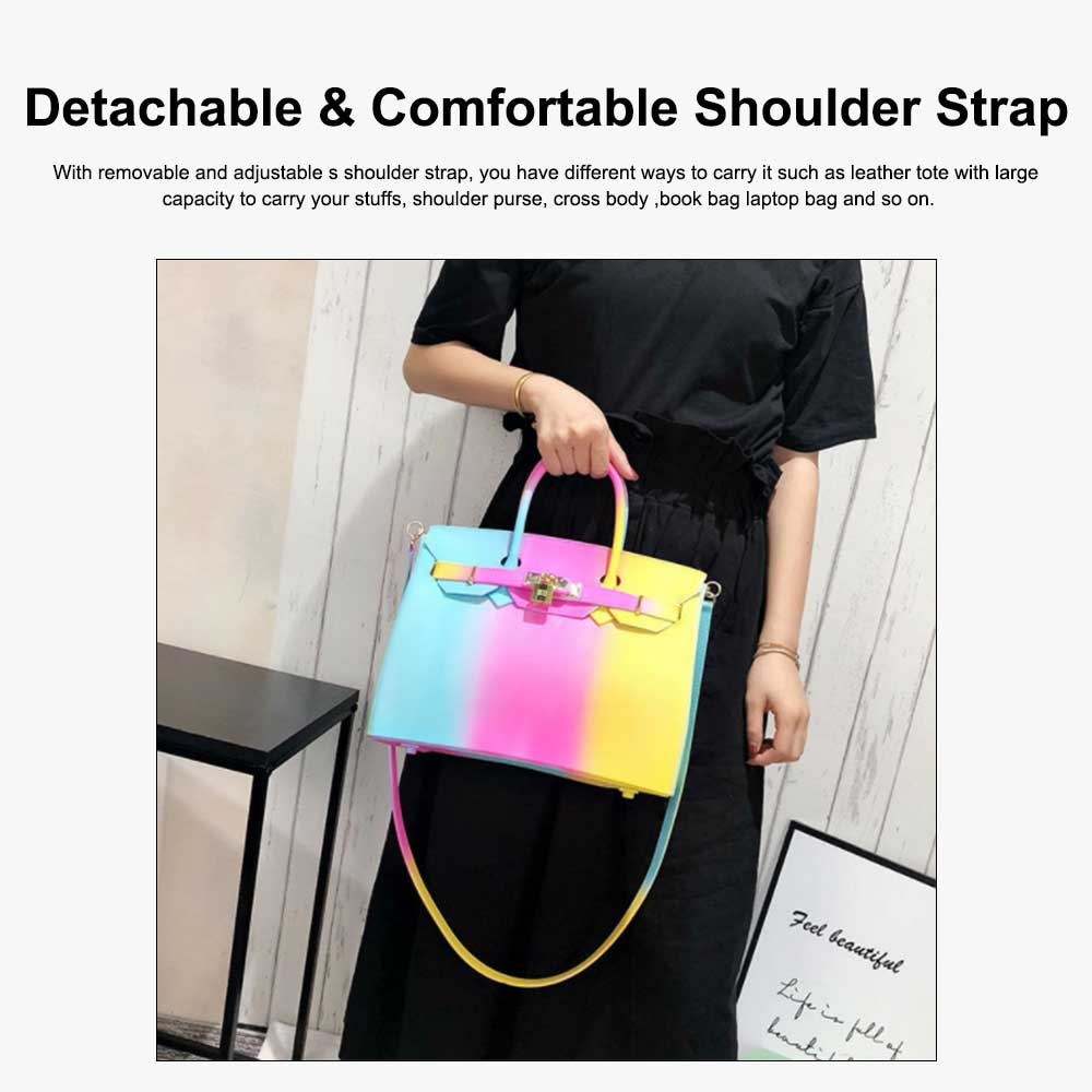 Colorful Contrast Women's Fashion Jelly Bag Rainbow Colored Matte PVC Beach Handbag Tote Bag 4
