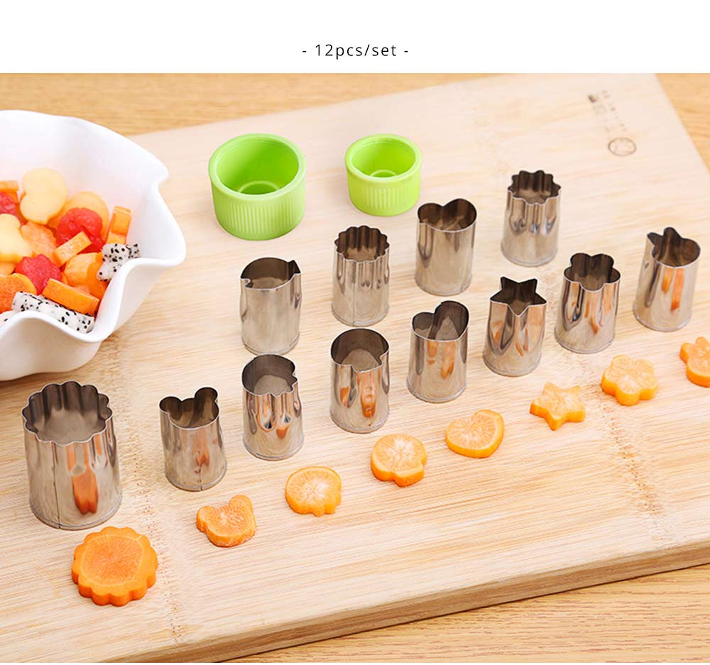 Vegetables and Fruit Shape Cutters Set, Stainless Steel Baking Cookie Mold ( 8PCS/12PCS) 4