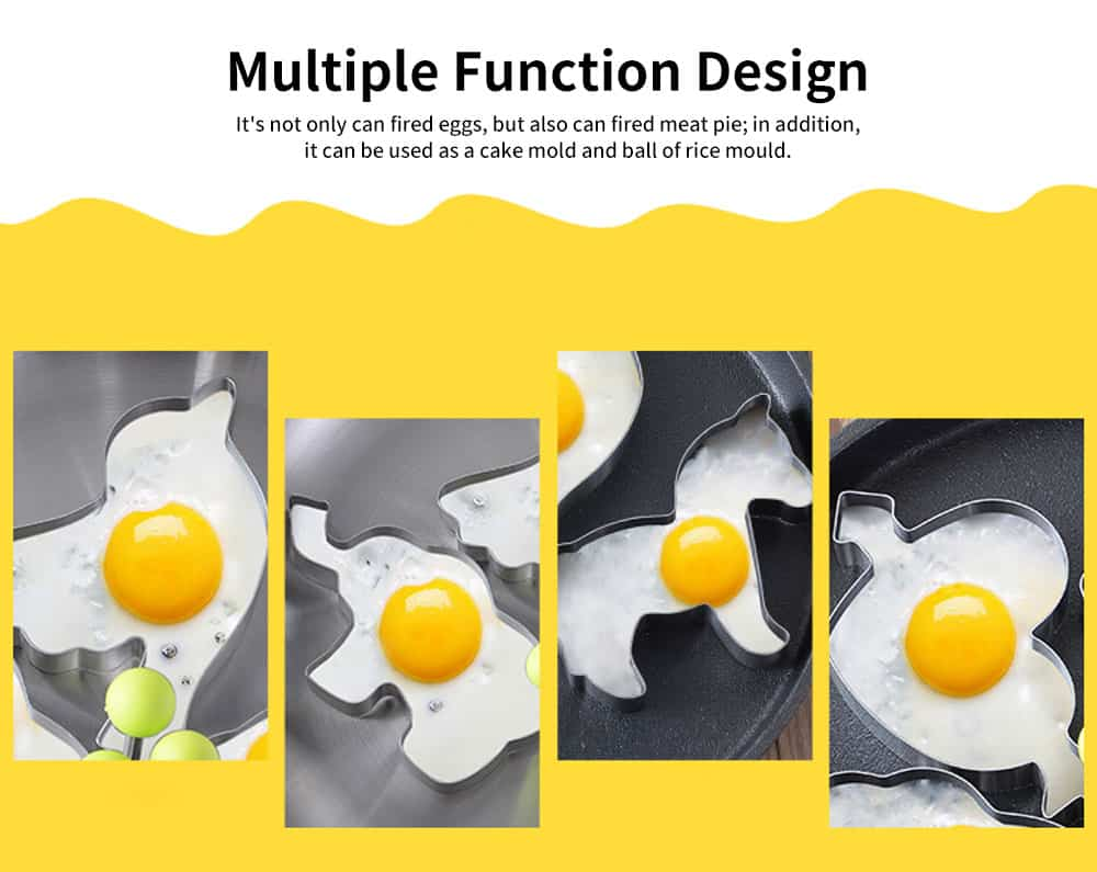 4PCS/Set Omelette Mold, Stainless Steel Cartoon Shape DIY Fried Egg Molds 5
