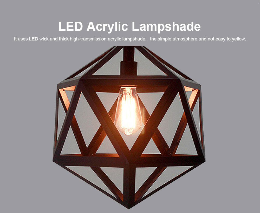 Wrought Iron Chandelier Lighting, American Country Multi-hexahedron Lamp 2