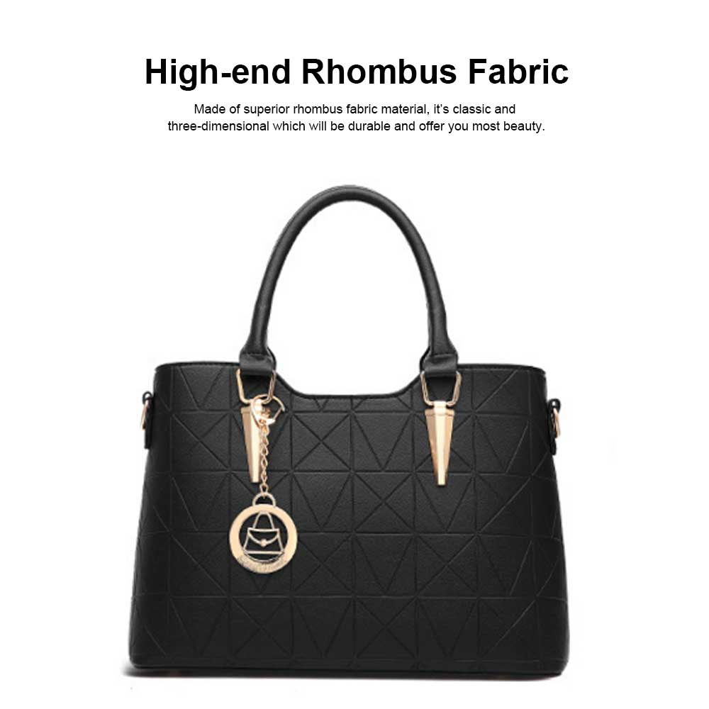 Rhombus Fabric Women's Shoulder Bag with Texture Hardware and One-shoulder Buckle and Large Capacity 1