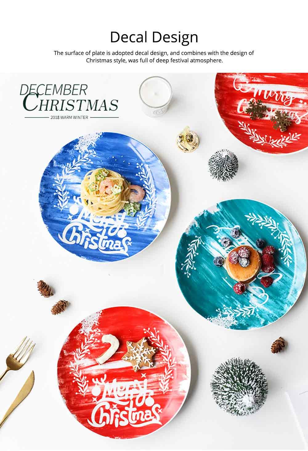 Christmas Painted Ceramic Plates, Christmas Style Steak Dinner Plates 2