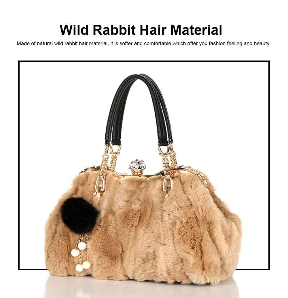 Women's Wild Rabbit Hair Handbag With Flat Hand Strap, Fashion Simple Shoulder Tote for Ladies 1