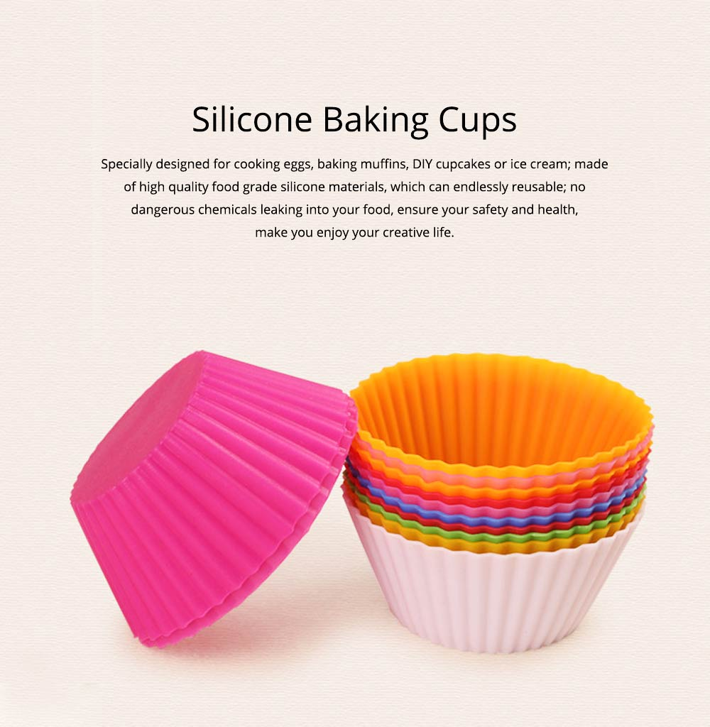 Reusable Silicone Baking Cups, Multi-colors Muffin Cup Liners, 12PCS 0