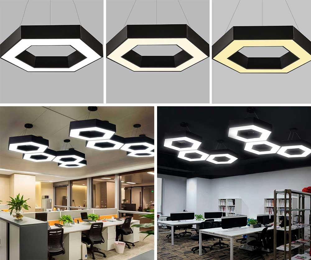 LED Modern Minimalist Chandelier for Company Office, Creative Polygon Combination Art Light 6