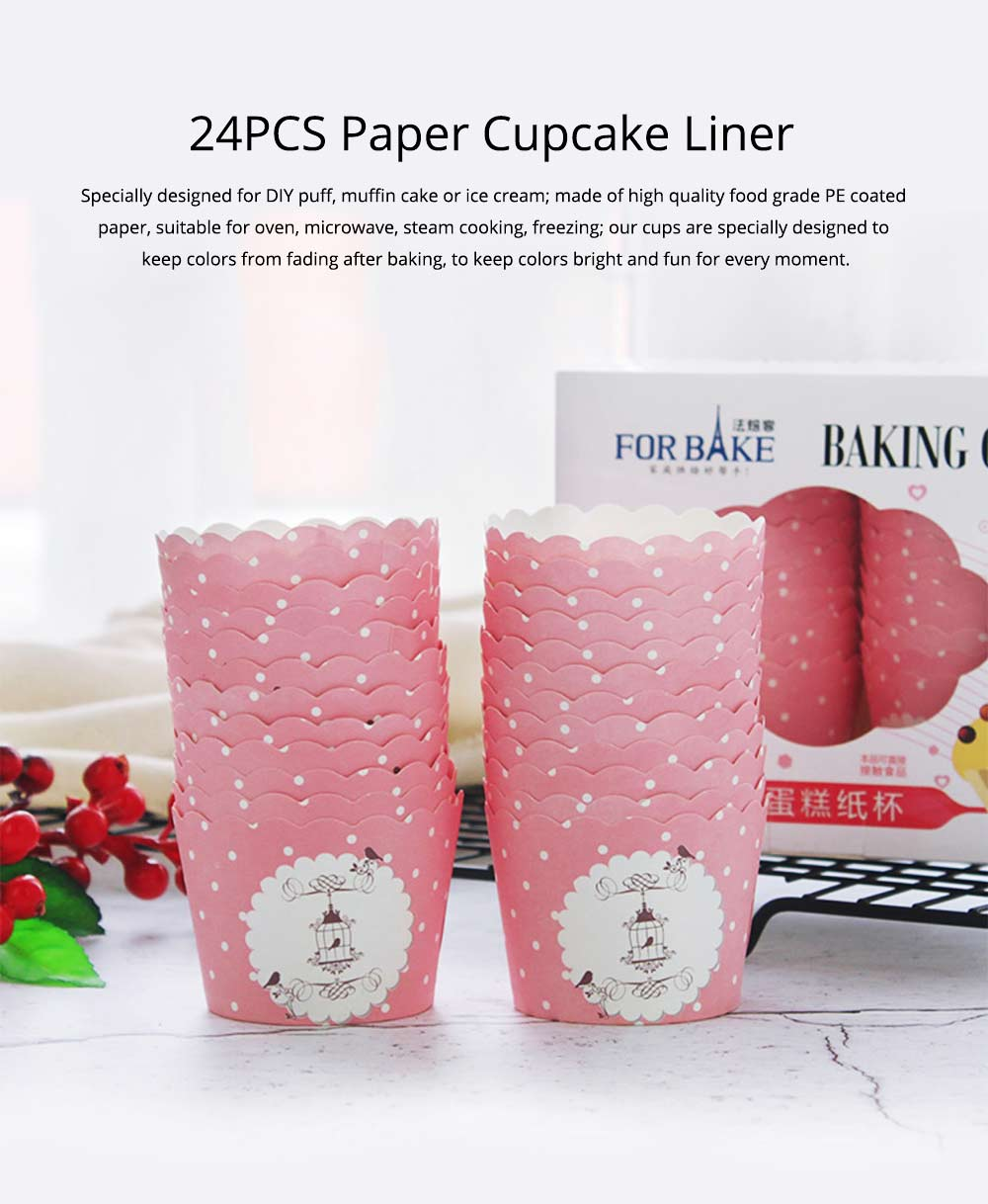 Paper Plate Cupcakes Liner, 24PCS Baking Cups Puff Muffin Cases Box 0