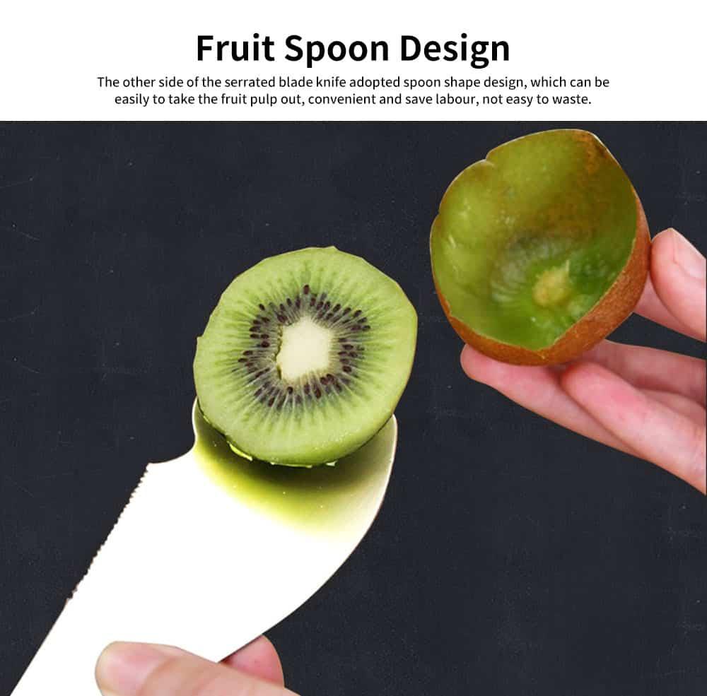 2 in 1 Peeler Cutter Knife, Stainless Steel Fruit Pulp Spoon Knife Peeler 3