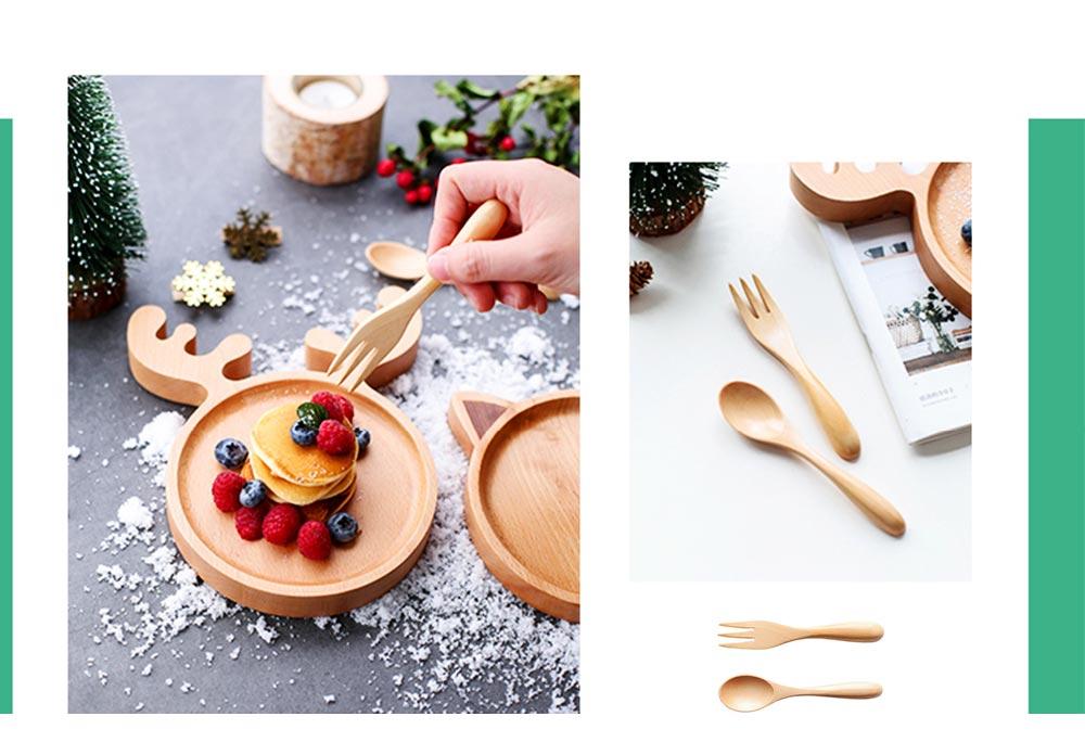 Dinner Plate & Dinnerware Set, Wooden Plate Fork Spoon Sets, Cartoon Pattern 2