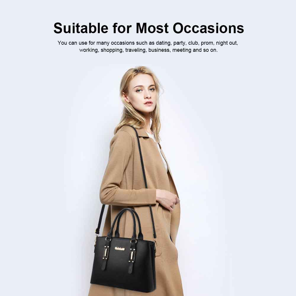 Fashion PU Leather Women's Shoulder Bag With Metal Reinforced Hand 2 Sets bags 16