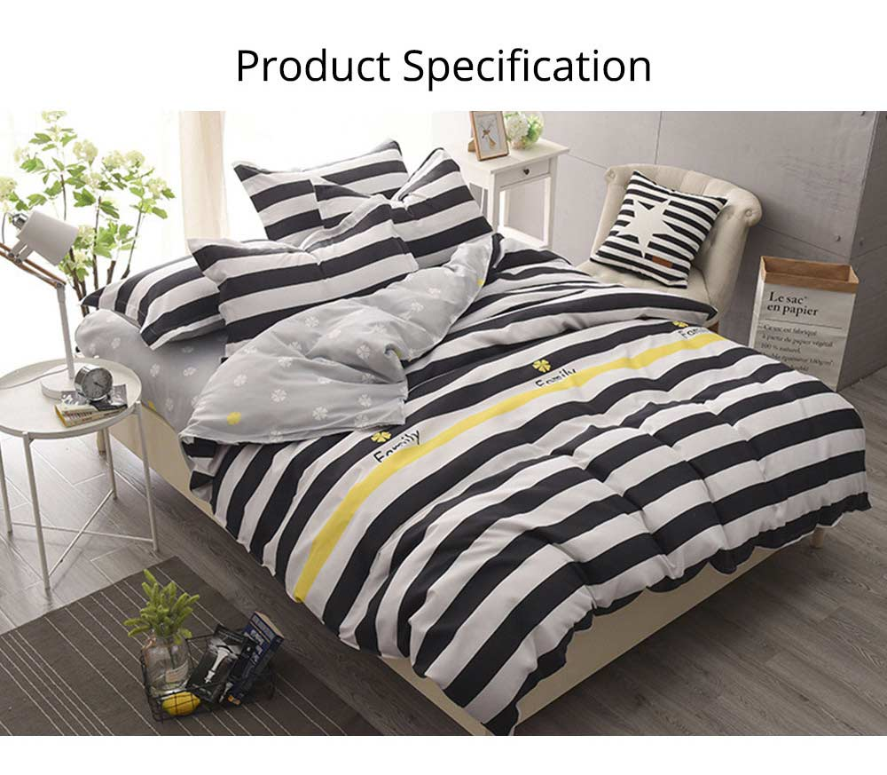 Simple Style Quilt Cover Sheet Pillowcase Bedding Set 4 Pieces 14